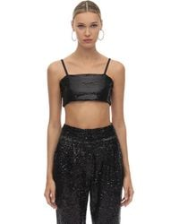 In the mood for love Sequined Crop Top - Black