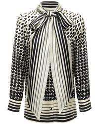 Gucci Camisa Con Estampado Geométrico Y Lazo - Negro