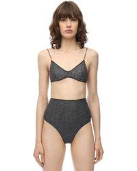 Oséree Bikini De Lúrex Y Lycra De Cintura Alta - Gris