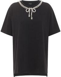 Giambattista Valli - Camiseta De Algodón Bordada Con Lazo De Cristales - Lyst