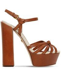 Dolce & Gabbana 150mm Hohe Sandalen Aus Leder Mit Plateau - Braun