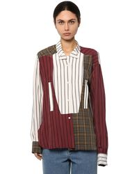 Loewe Patchwork Asymmetric Crinkle-finish Shirt - Multicolour