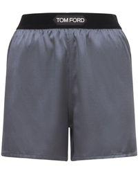 Tom Ford シルクサテンショートパンツ - グレー
