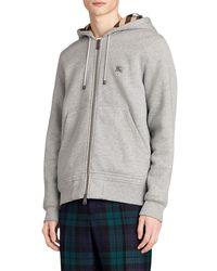 Burberry - Zip-up Sweatshirt Hoodie W/ Check Lining - Lyst