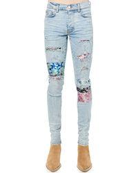 Amiri Jeans In Denim Di Cotone Con Patch - Blu