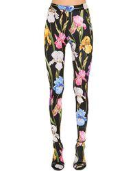 Dolce & Gabbana ́leggings Aus Jersey Mit Blumendruck - Schwarz