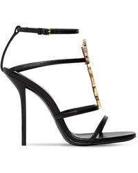 Saint Laurent 110mm Cassandra Logo Leather Sandals - Black