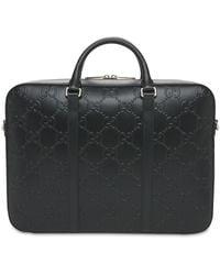 Gucci Serviette En Cuir Estampé Motif Gg - Noir