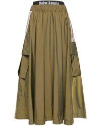 Palm Angels Nylon Midi Cargo Skirt W/ Pockets - Green