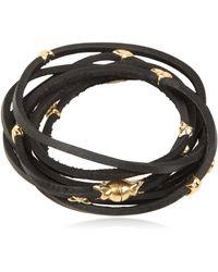 Tomasz Donocik Gold Stars & Leather Wrap Bracelet - Yellow