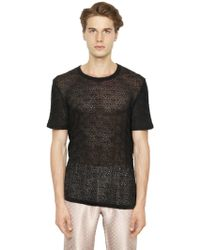 La Perla Techno Blend Macramé T-shirt - Black
