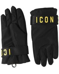 DSquared² Icon Print Nylon Ski Gloves - Black