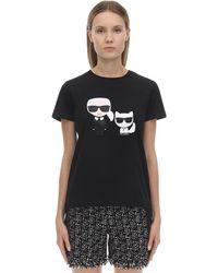 """Karl Lagerfeld T-Shirt mit """"Karl & Choupette""""-Print - Schwarz"""