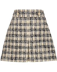 Gucci マルチカラーウールブレンドツイードスカート - ブラック
