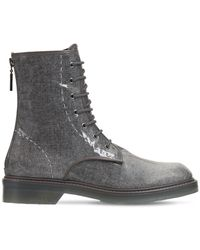 Max Mara 30mm Beth Waxed Wool Blend Ankle Boots - Grey