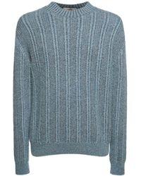 """Agnona Sweater Aus Kaschmir- Und Seidenstrick """"vanisé"""" - Blau"""