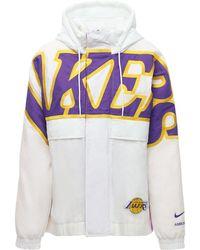 "Nike Nylonjacke Mit Kapuze ""lakers Nrg Ir"" - Weiß"