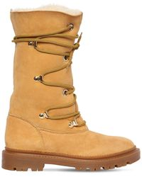 Casadei 20mm Leather & Shearling Boots - Brown