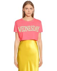 Alberta Ferretti - Wednesday Cotton Jersey Cropped T-shirt - Lyst