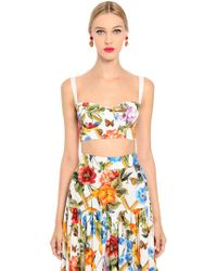 Dolce & Gabbana | Bamboo Floral Printed Drill Bra Top | Lyst
