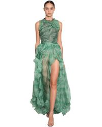 Ermanno Scervino - Printed Long Ruffled Organza Dress - Lyst