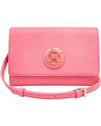 Metrocity Small Embossed Leather Shoulder Bag - Pink
