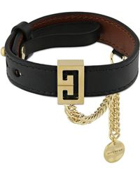 Givenchy Leather Bracelet W/ Chain - Black