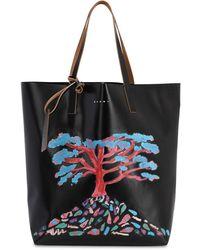 Marni Printed Tech Tote Bag W/ Leather Straps - Black