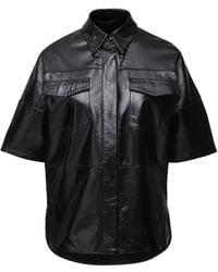 Zeynep Arcay Patent Leather S/s Shirt - Black
