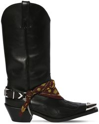 Versace 70mm Camperos Leather Cowboy Boots - Black