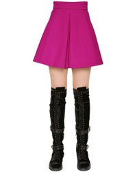 Fausto Puglisi - Flared Wool Crepe Mini Skirt - Lyst