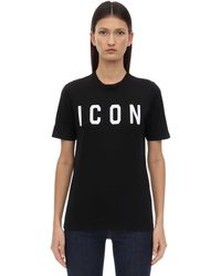 DSquared² Printed Icon Cotton T-shirt - Black