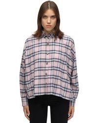 Étoile Isabel Marant Camisa a cuadros con volantes en el cuello - Rosa