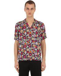 Garçons Infideles Floral Print Viscose Poplin Shirt - Red