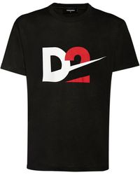 DSquared² Camiseta De Jersey De Algodón Estampada - Negro