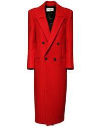 Saint Laurent Пальто Из Кашемира - Красный
