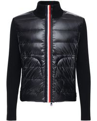 Moncler Tricot Wool Nylon Laque Down Cardigan - Black