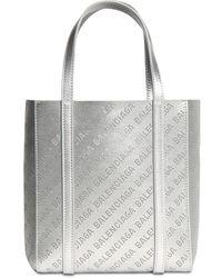 """Balenciaga Tote Aus Leder Mit Logo """"xxs Everyday"""" - Mettallic"""