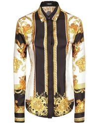 Versace Рубашка Из Шёлковой Саржи С Принтом - Многоцветный
