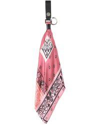 Amiri Bandana Print Silk Scarf Key Holder - Pink