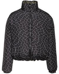 Marcelo Burlon Reversible Logo Print Nylon Down Jacket - Black
