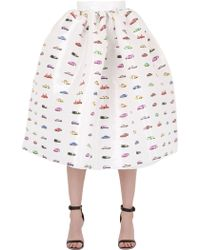 Fyodor Golan Cars Printed Organza Skirt - White
