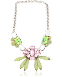 Ortys - Floral & Crystals Wire Frame Necklace - Lyst