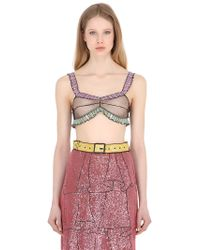 Gucci - Sequined Illusion Sheer Tulle Bra Top - Lyst