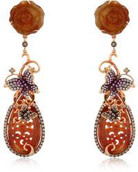 Wendy Yue - Diamond & Yellow Jade Butterfly Earrings - Lyst
