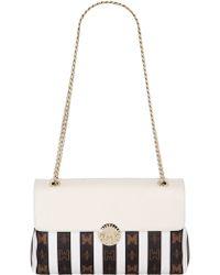 Metrocity Striped Pvc Shoulder Bag W/leather - White