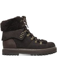 See By Chloé - 20mm Suede & Shearling Hiking Boots - Lyst