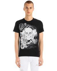 Just Cavalli - T-shirt In Jersey Di Cotone Stampa Teschi - Lyst