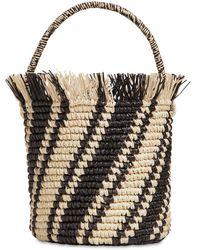Sensi Studio Side Stripes Baby Straw Bucket Bag - Black