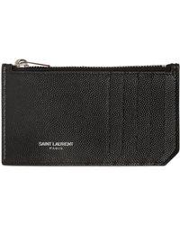 Saint Laurent - Grained Leather Zip Card Holder - Lyst